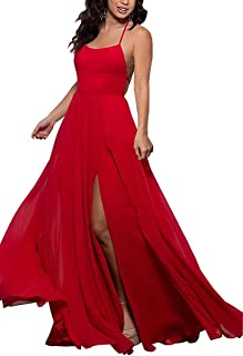 Halter Split Chiffon Bridesmaid Dresses Long for Women A-Line Sleeveless Wedding Party Dress