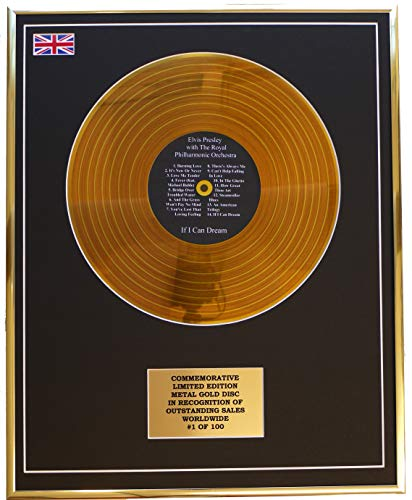 Everythingcollectible Elvis Presley - IF I CAN Dream/Metall Gold Disc Display Gedenk Limited Edition