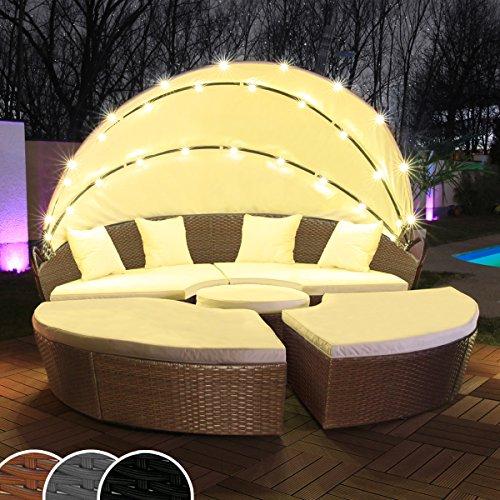 Swing & Harmonie Polyrattan Sonneninsel mit LED Beleuchtung + Solarmodul inklusive Abdeckcover Rattan Lounge Sunbed Liege Insel mit Regencover Sonnenliege Gartenliege (210cm, Braun)