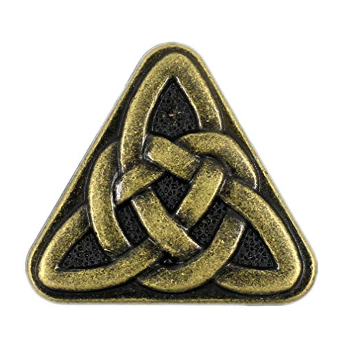 Bezelry 10 Pieces Triangle Celtic Sister Knot Metal Shank Buttons. 25mm (1 inch) (Antique Brass)