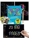 Kratzpapier-Block von Purple Ladybug - Notizblock mit 20 Großen Blättern für Kratzbilder für Kinder in Regenbogenfarben zum Malen und Zeichnen! Kratzstiften und Probeartikeln gratis dazu -