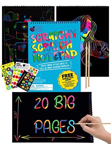 Bloc de Dessin de Carte à Gratter pour Enfants de Purple Ladybug 20 Feuilles de Papier Noir avec Fond Arc-en-Ciel pour Écriture, Jeux, Dessins - Stylets et Lot d'Échantillons Offerts