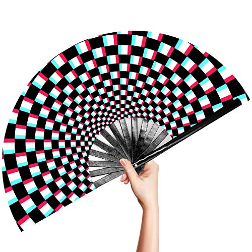OMyTea Large Rave Clack Folding Hand Fan for Men/Women - Chinese Japanese Bamboo Handheld Fan - for EDM, Music Festival, Club, Event, Party, Dance, Performance, Decoration, Gift (Illusion Checkered)
