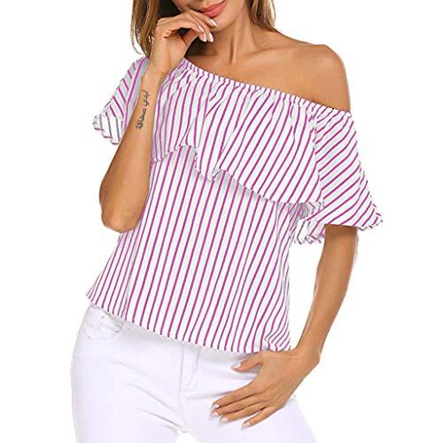 NPRADLA Frauen T-Shirts Schulterfrei Rüschen Gestreifter Druck Plain Tops Mädchen Casual Bluse Sommer Kurzarm Pullover Damen Loses Hemd