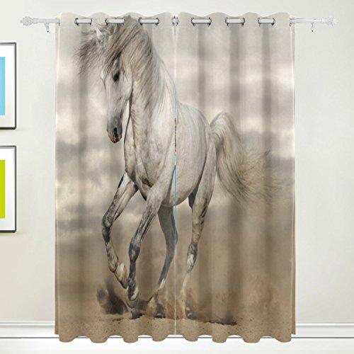 Cosun White Beauty Horse Blackout gordijnen verduistering thermisch geïsoleerd polyester tule gordijn voor slaapkamer, woonkamer, 2 panelen (55 Watt x 84 l)