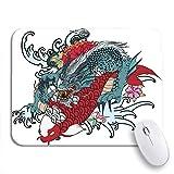 NINEHASA 可愛いマウスパッド 腕のドラゴンと鯉魚の花のタトゥー日本の滑り止めゴムバッキングコンピューターマウスパッドノートブックマウスマット