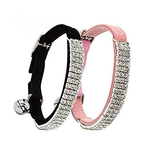 CHUKCHI Collar ajustable de terciopelo suave para gatos con diamantes de imitación con campanas, 28 cm para perros pequeños y gatos (negro y rosa).