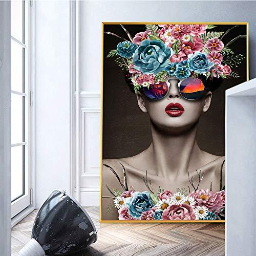 SLQUIET Impresión Abstracta Belleza Pared Arte Lienzo Impresiones Chica Lienzo Pintura Pop Art Lienzo Mural decoración del hogar Pintura sin Marco 80x120 cm