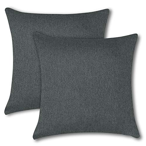 Soleebee クッションカバー 45×45CM 北欧 防水 無地 装飾枕カバー ソファ背当て 座布団カバー 2枚セット (ダークグレー)