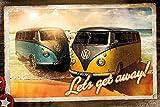 VW Camper Van Poster Let's Get Away (91,5cm x 61cm) + 2 St.