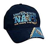 United States Navy 'We OWN the Seas' Name Logo Military Armed Forces Embroidered Hat - Blue Navy Adjustable Buckle Closure Cap, Adjustable