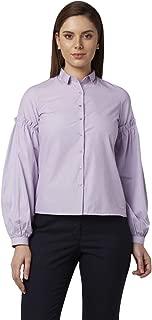 Park Avenue Solid Polyester Blend Dark Violet Regular Collar Half Sleeve Shirts