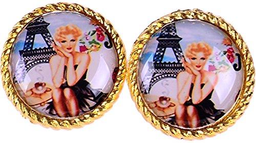 Cute Paris Eiffelturm Pin UP Woman with Cofe Vintage Ohrstecker Rockabilly Ohrsc