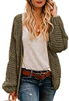 Astylish Women Open Front Long Sleeve Chunky Knit Cardigan Sweaters Loose Outwear Coat