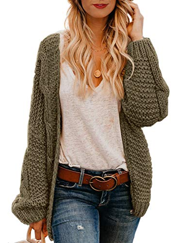 Astylish Womens Fashion Winter Fall Thick Cozy Open Front Long Sleeve Chunky Knitting Ribbed Cardigan Sweater Small Size 4 6 Olive Brown