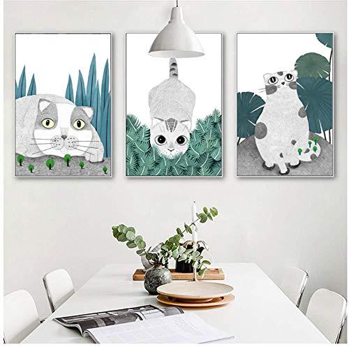 YaShengZhuangShi Leinwand Malerei Cut Katze Im Gras Nordic Wohnzimmer Dekor Sofa Hintergrund Animal Print Wandbilder für Wohnzimmer 3X50x70 cm, kein Rahmen