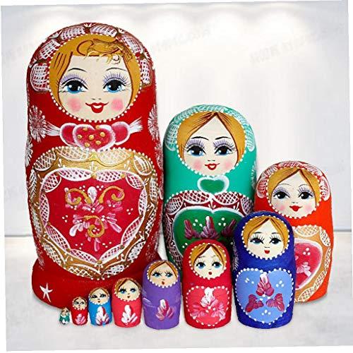 TOPofly Muñecas Rusas de la jerarquización, 10pcs Tradicional Pintado a Mano Matryoshka, clásicos de Madera muñeca del Regalo Juguetes para niños Adornos para los Regalos