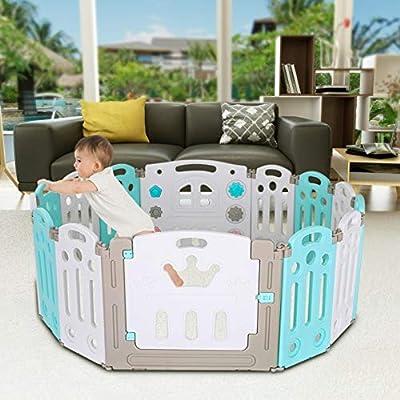 Baby Playpen, 14 Panel Foldable Kids Activity C...
