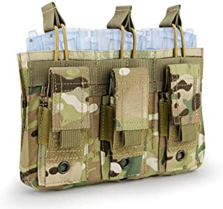 Aoutacc Double/Triple Mag Pouch, Kangaroo Rifle Magazines and Pistol Mag Pouch for M4 M16 AK AR G36 9mm .40 S&W .45 ACP Magazines