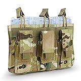 Pochette Mag Double/Triple Tactique, Pochette Double Poche Peut Tenir des Magazines à Rifles et Mag Magique (Triple-CP)