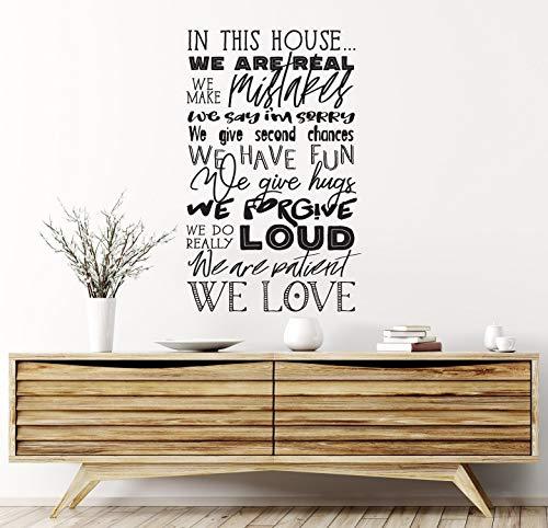 Vinilo decorativo de PVC para pared, diseño de reglas de la casa con texto en inglés 'in this house we are ' Home Living Family Sign Do List Real Make Mistakes Fun Hugs Love pizarra