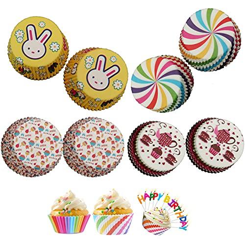 400 Pieza Papel para Cupcakes,Moldes para Magdalenas,Envoltorios Cupcakes,Rainbow Papel para Magdalenas Muffins...