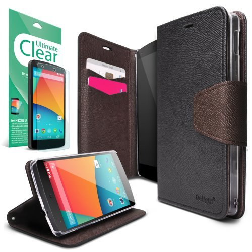 Nexus 5 Case - Ringke DELIGHT Case [Free HD Film][BLACK&BROWN] Premium PU Saffiano Leather Standing View Diary Case Flip Cover for Google Nexus 5 (NOT for New Nexus 5X 2015) - Eco Package