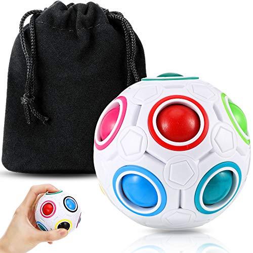 Magie Regenbogen Ball Regenbogen Puzzle Ball Pop Regenbogen Magie Ball Würfel mit Schwarzem Samtbeutel, 3D Puzzle Rätsel Lernspielzeug für Jugendliche und Erwachsene, Bunt