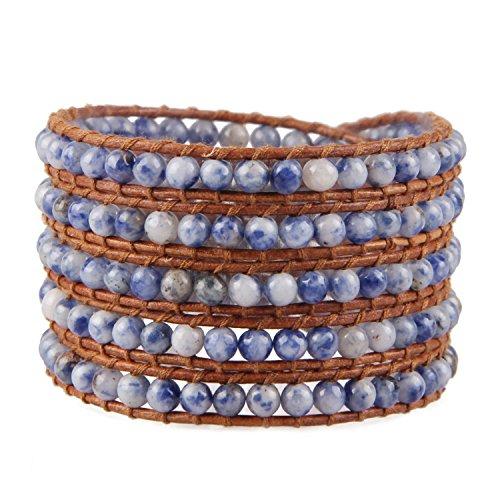 KELITCH Verano Elegante Azul Ágata Jade Piedra preciosa Bead 5 Filas Cuff Pulseras De Abrigo - Natural Marrón Cuero