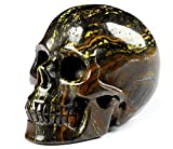 "Skullis 2.0"" Tiger Iron Eye Crystal Skull, Hand Carved Gemstone Fine. Art Sculpture, Reiki Healing Stone Statue.1318"