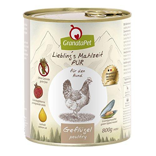 GranataPet Liebling's Mahlzeit Geflügel PUR, Nassfutter für Hunde, Hundefutter ohne Getreide & Zuckerzusätze, Alleinfuttermittel mit hohem Fleischanteil & hochwertigen Ölen, 6 x 800 g