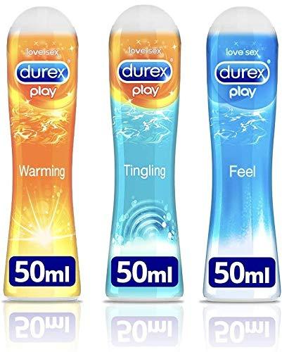 Durex Play Glijgel, uitprobeerpakket voor hem en haar, met 3 verschillende artikelen (Play Feel, Play Warmend, Play Prickelend), verpakking van 3 stuks (3 x 50 ml)