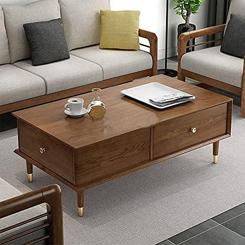 XIAOPENG Mesa de centro moderna de madera para sala de estar, mesa de café medieval bohemia, mesa de café retro con almacenamiento, fácil de montar