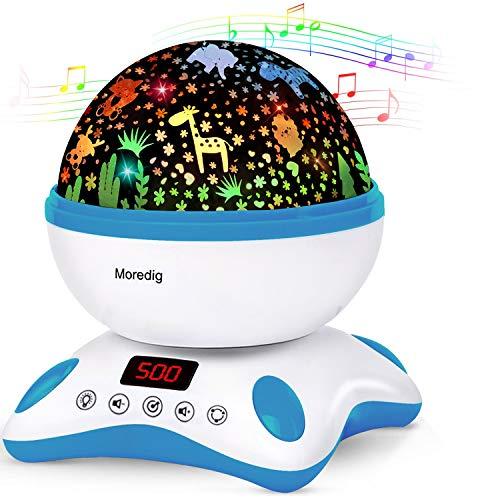 Veilleuse Musicale Multicolore avec Projecteur d'étoiles Mouvantes, 4 Modes, Rechargeable par Usb (pour Bébés, Enfants)
