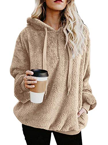 American Trends Oversized Sweatshirts for Women Athletic Womens Sherpa Hoodie Fluffy Women's Hoodies Pullover with Pockets Khaki XX-Large