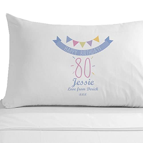 Personalised Happy 80th Birthday Pillowcase Gifts For Her Female Presents