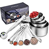 HAUSPROFI Measuring Cups and Spoons Set, 13 Pieces Premium Stainless Steel Measuring Spoons with Ruler Scoop/Clip for Baking, Liquid and Solid