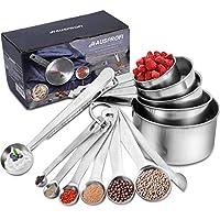 hausprofi 13 pz cucchiai dosatori misurini in acciaio inox uso cucina con righello, misurino con clip, 5 misurini + 6 misurini stretti + 1 misurino (livellatore) + 1 scop con clip.