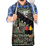 Wembley Pocketed BBQ Grill Apron for Men, Funny, Grill Sergeant, Attached Bottle Opener, 15 Pockets for Barbecue Tools, Comfortable Lightweight Nylon, One Size Fits Most, Adjustable, Reinforced, Camo