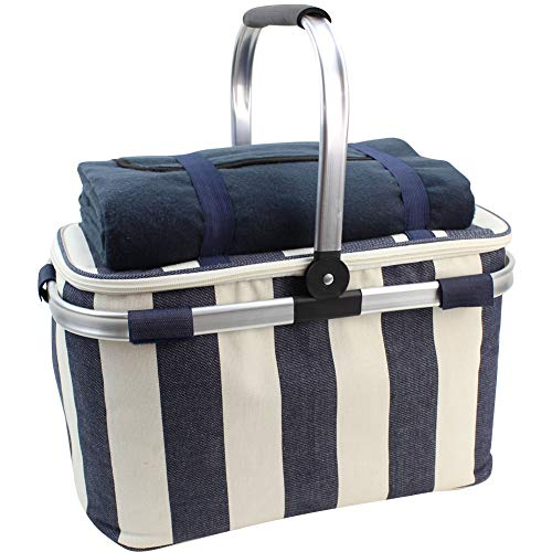 Big Save! HappyPicnic 25L Insulated Cooler Bag with Foldable Aluminium Handle, Picnic Basket with Wa...