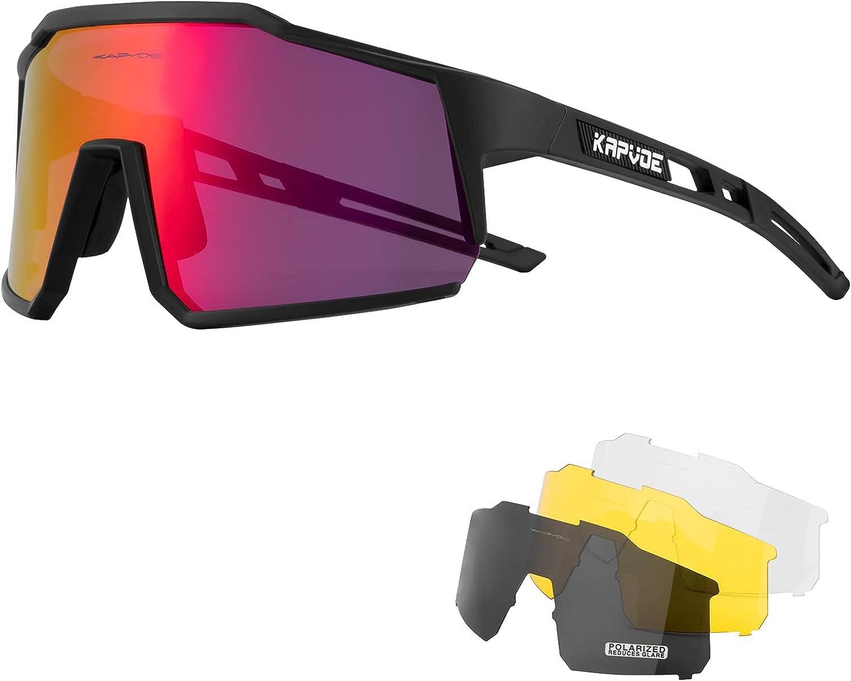 KAPVOE Gafas de Ciclismo Polarizadas con 4 Lentes Intercambiables TR90 Gafas de Sol Deportivas Mujeres Hombres Running MTB Bicicleta Accesorios