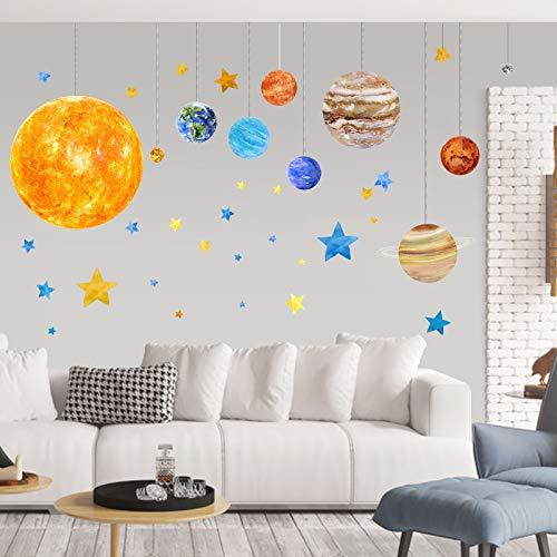 Mykasen - Pegatinas de pared para niños, diseño de planetas y planetas para pared, despegables, sistema solar, acuarela, para decoración de pared, para guardería, dormitorio, sala de estar