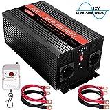 KRIPOL 3000W Inversor Onda sinusoidal Pura DC 12V a AC 220/230V Transformador con 2 AC Salidas y 1 Salida USB 2.1 AH Control Remoto inalámbrico y Pantalla LED- Potencia Pico 6000W