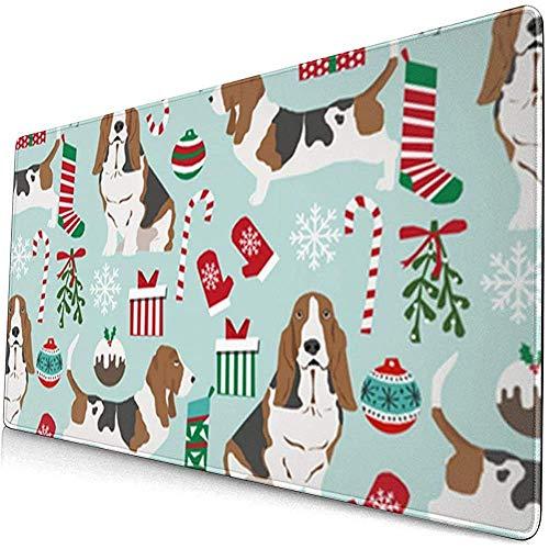 Kerstmis Suiker Kerst Sokken Hond Uitgebreide Gaming Muis Pad,Dikke Grote Computer Toetsenbord Muismat