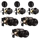 3 Pack Keyed Alike Entry Door Knobs and Single Cylinder Deadbolt Lock Combo Set Security for Entrance and Front Door with Classic Oil Rubbed Bronze Finish