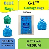 G 1 Garbage Bags for Home Kitchen Wet Waste   19 X 21 Inch Medium Size   Blue Color   90 Pieces (Pack of 3)   30 Pcs in Each Pack   Disposable Pantry Dustbin Covers