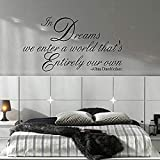 Tamaño grande 9X53Cm Citado Dream Enter Own World Wall Decal Sticker Art