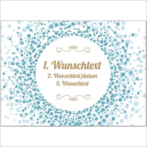 8 x Personalisierte Gruß-Karten mit Ihrem Wunschtext Motiv blauer Konfetti als Einladung, Save The Date, Dankeskarte oder Geburtstagskarte, DIN A6