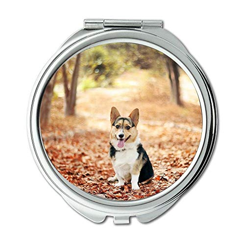 Yanteng Spiegel, runder Spiegel, niedlicher Mops Hund Corgi, Taschenspiegel, 1 X 2X Lupe