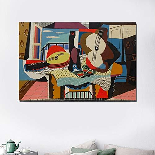 N / A Pablo Picasso Mandoline und Gitarre Leinwand Malerei Poster Drucke Marmor Wandkunst Malerei Dekorative Bilder Moderne Wohnkultur 50x70CM NO Rahmen